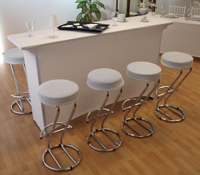 Magasított koktélasztal spandex huzattal, fehér