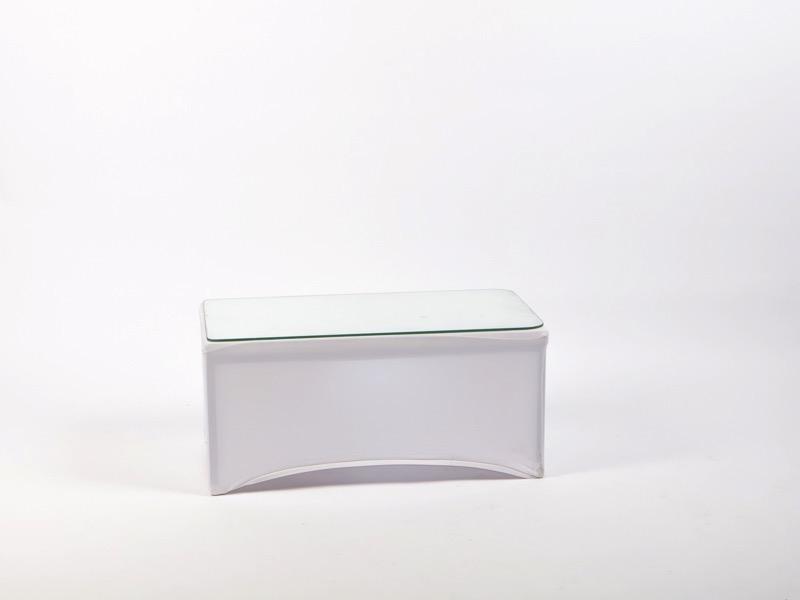 Dohányzóasztal spandex huzattal, fehér 80x40cm