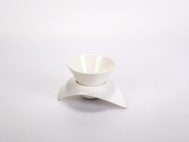 Fingerfood porcelán tálka alátéttel